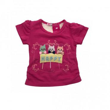 T-shirt rose avec dentelle-...