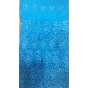 Voile Brodé  Bleu - 5 METRES